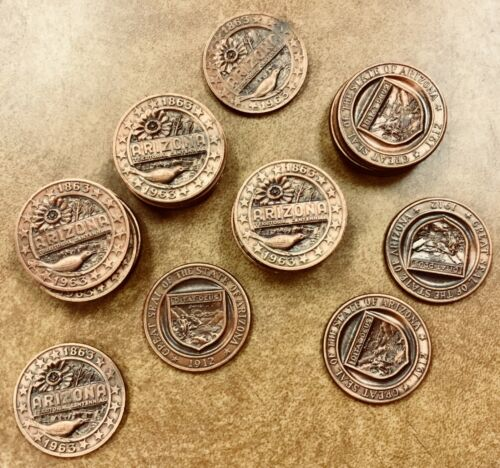 1863-1963 ARIZONA TERRITORIAL CENTENNIAL Bronze Medal Token group of 5
