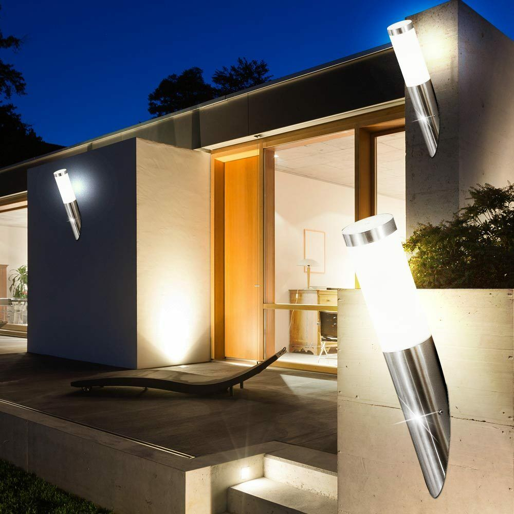 Set of 3 7w led stainless steel outdoor wall light hof entry balcony house big