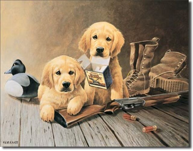 Golden Retrievers Pups TIN SIGN Hunting cabin dog gun ammo metal art poster 924