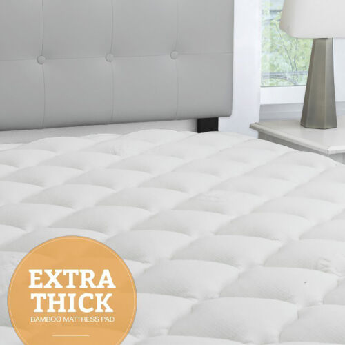Extra Thick Bamboo Mattress Topper Cooling Matress Pad Extra Soft Plush Cooler
