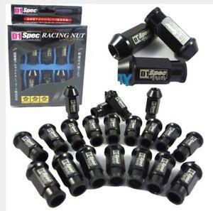 BLACK-20-Pieces-D1SPEC-Light-Weight-Billet-Racing-Wheel-Lug-Nut-Nuts-M12x1-25