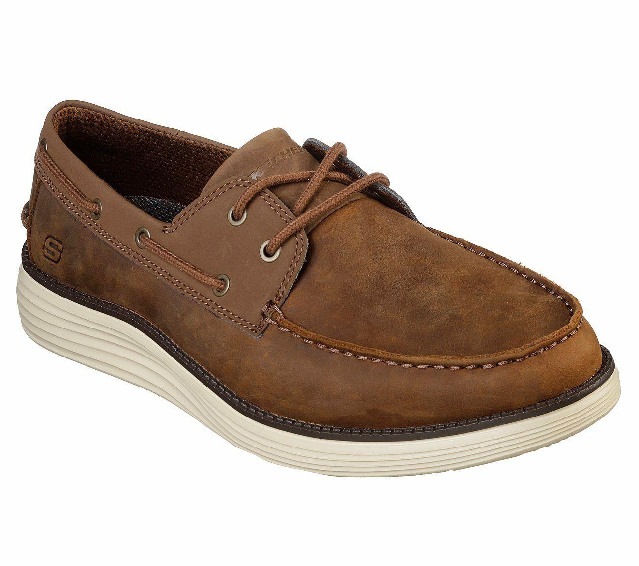 Skechers Wide Fit Brown Shoe Men Memory