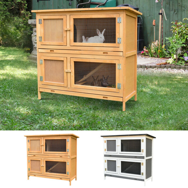 Large Rabbit Hutch Bunny House Cage Elevated Ramp Habitat Shelter Wood Outdoor For Sale Online Ebay