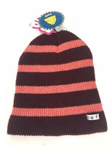 8c08b62c9628d NWT Women s Neff Daily Sparkle Stripe Beanie Hat Maroon Coral Pink ...