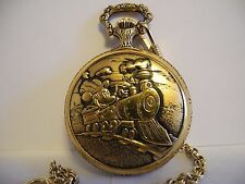 DISNEY MICKEY MOUSE POCKET WATCH NEW W/WOOD BOX AND CHAIN LOWERED PRICE