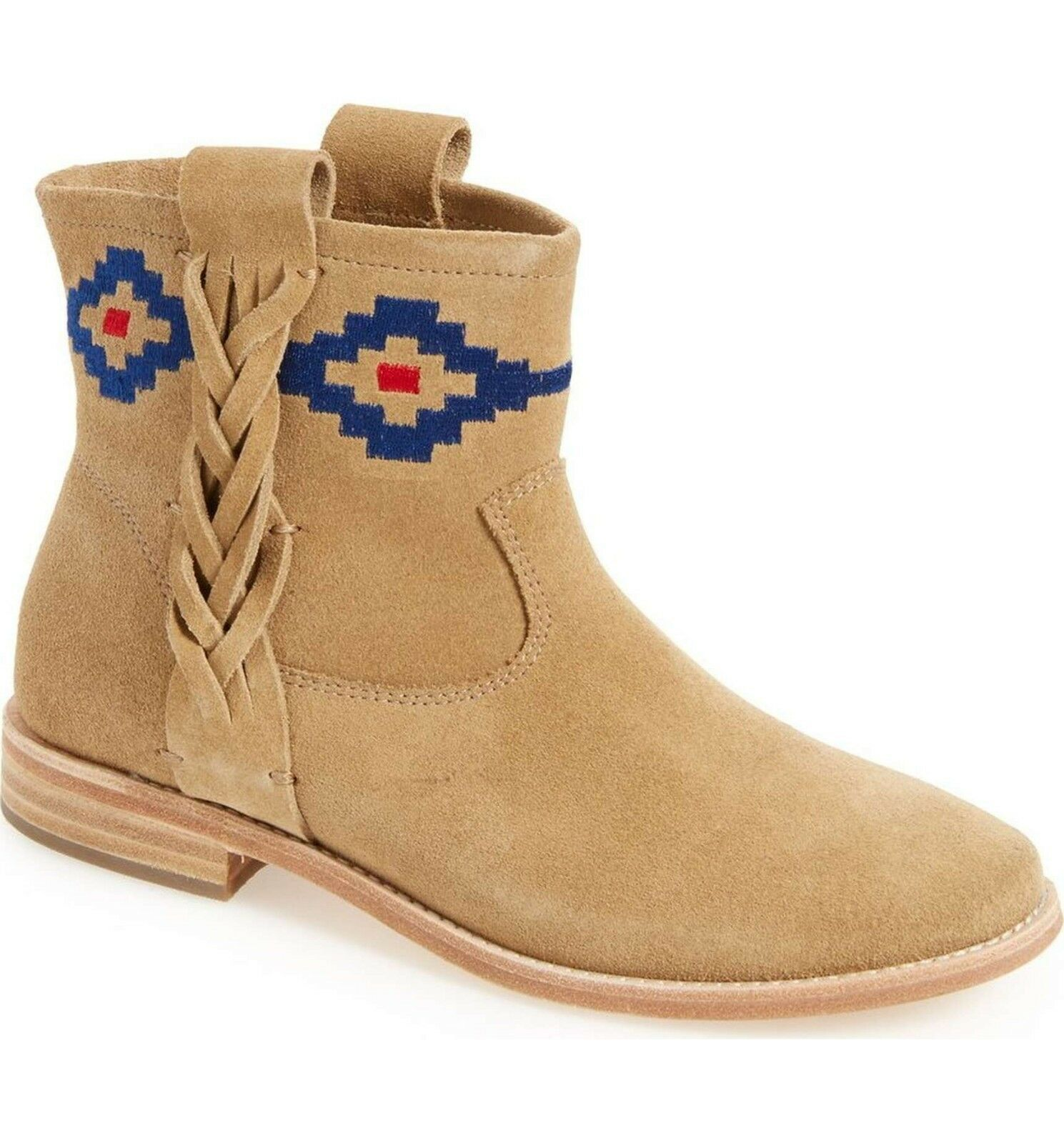 SOLUDOS Stiefel Embroiderot Geometric Geometric Geometric Braided Southwest Suede Ankle Stiefelies Tan 10 351052