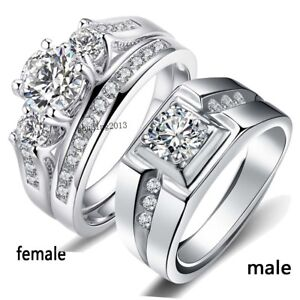 Two Rings Couple Rings White Gold Filled S925 Silver CZ Womens Ring