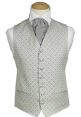 MENS WEDDING SILVER GREY OR GOLD DIAMOND DRESS SUIT PROM CRUISE BALL WAISTCOAT