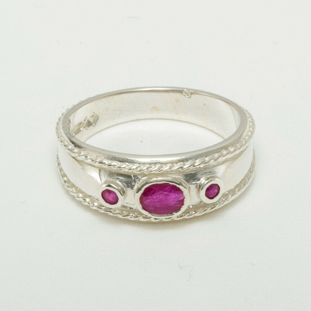 Solid 9ct White gold Natural Ruby Womens Trilogy Ring - Sizes J to Z
