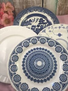 4-Vintage-Mismatched-Ironstone-China-Dinner-Plates-Blue-White-Transferware-236
