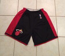 Men's Champion Miami Heat Basketball Jersey Shorts Black Red Game Vtg 40-42 XL