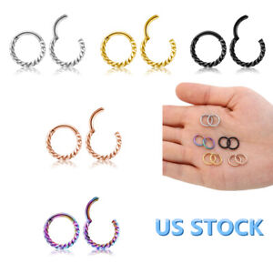 16G-Stainless-Steel-Hinged-Septum-Clicker-Segment-Ear-Cartilage-Nose-Ring-Daith