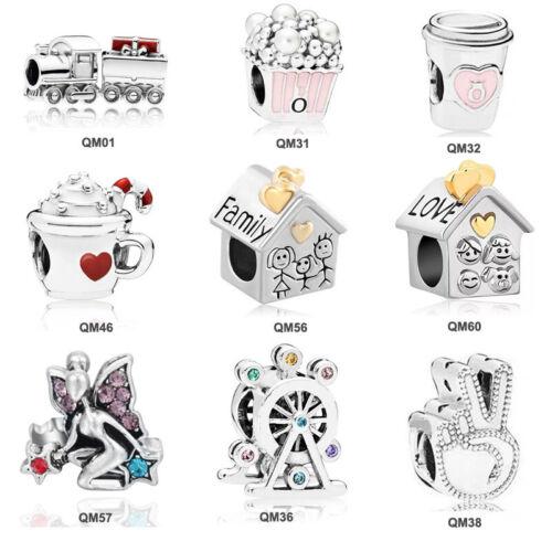Wholesale 10//20//50pcs European CZ Charm Beads Fit 925 Silver Bracelet Necklace