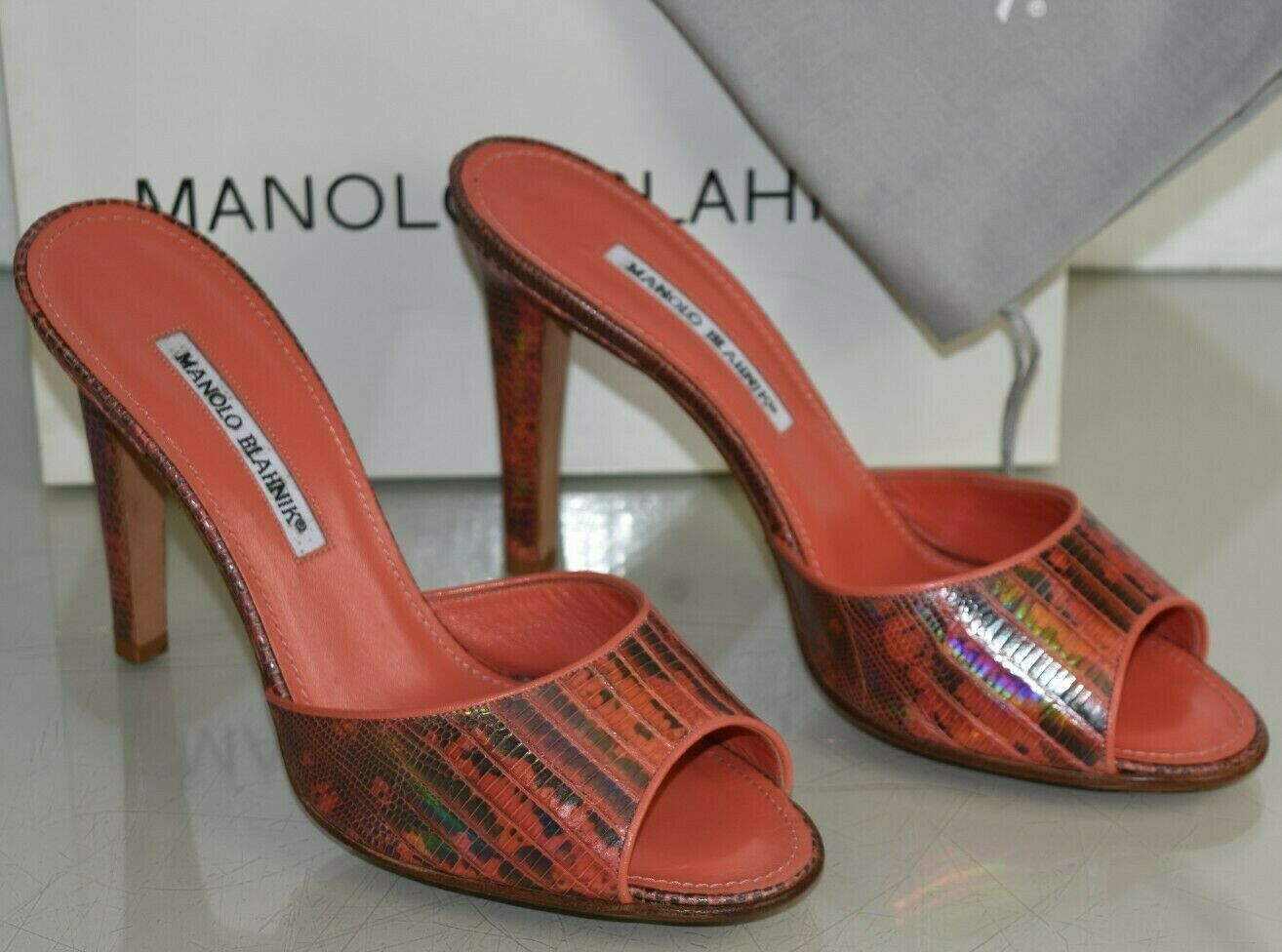 NEW Manolo Blahnik BAMUS Slide orange Grey EXOTIC LIZARD SKINS Mules shoes 40