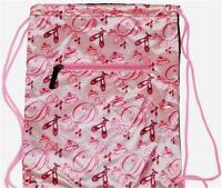 Ballet Print Pink Drawstring Bag/backpack With Tags In Package