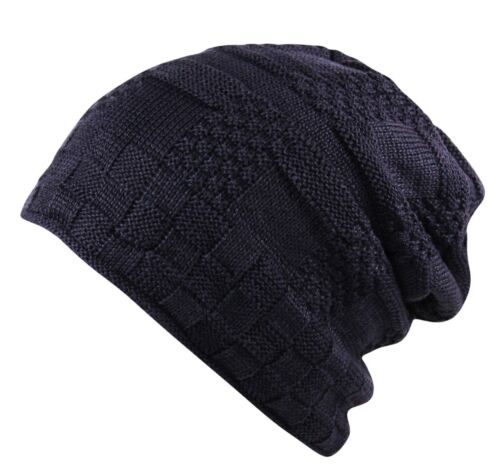 Waffle Rib Knit Fleece Lined Sloch Beanie Hat Cap