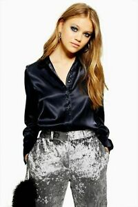 Topshop-Navy-Satin-V-Neck-Pyjama-Shirt-Top-Long-Sleeve-Blouse-UK-6-to-18-30