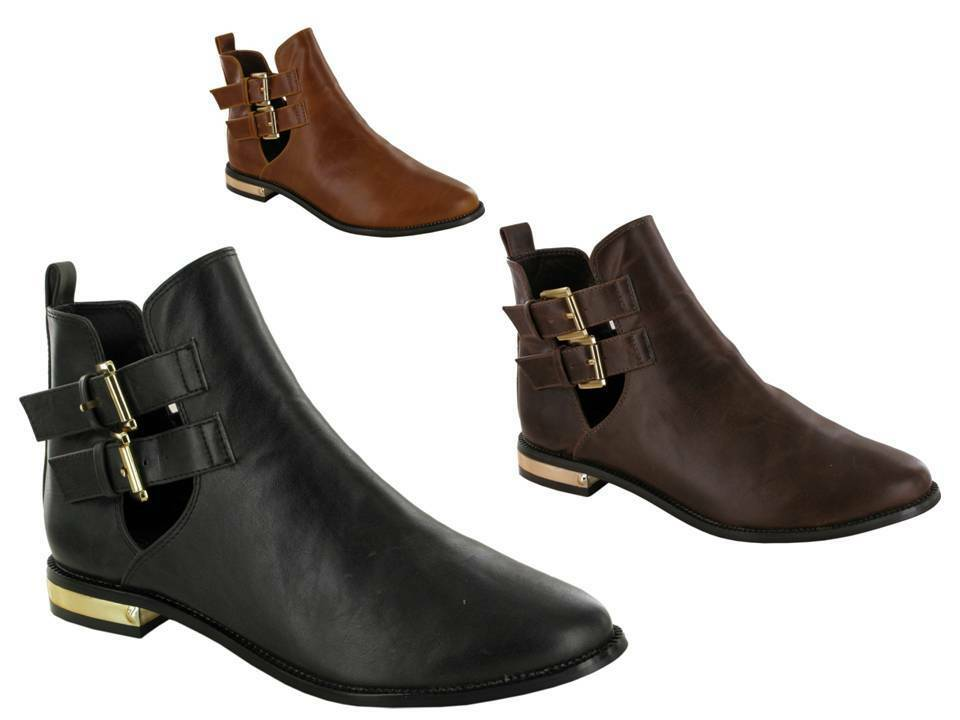 WOMEN/LADIES NEW ANKLE CHELSEA BOOTS WITH STRAP CLOSURE UK SIZE 3 -4- 5- 6- 7- 8