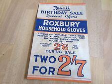 REXALL Roxbury Household GLOVES Original c 1920's SHOP Advertising Showcard