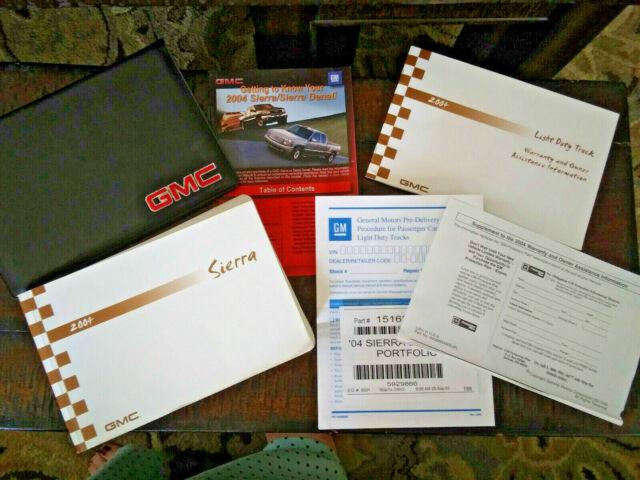 2004 Gmc Sierra Owner Manual Handbook Set With Case