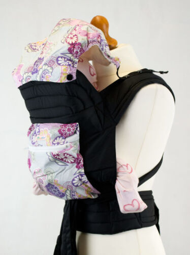 Mei Tai Baby Sling Carrier With Hood And Pocket Purple Paisley