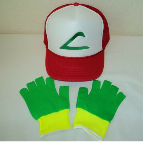 Pokemon Ash Trainer Costume Hat and Gloves Set Green//Yellow Choose Sze US Seller