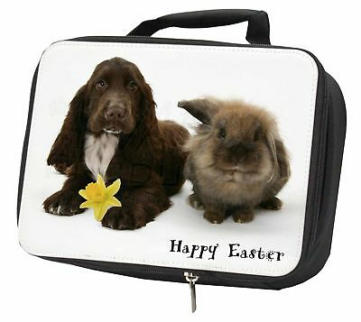 'happy Easter' Dog+rabbit Black Insulated School Lunch Box Bag, Ad-sc7da1lbb