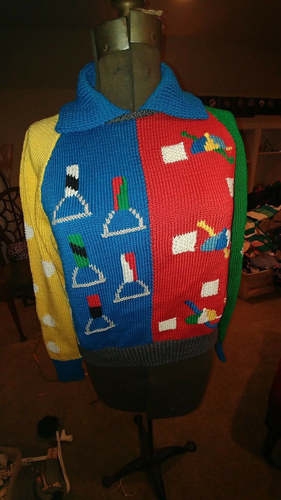 BEREK Sweater Horse Equestrian Multi color Collectible Hand Knit Size Small 1989