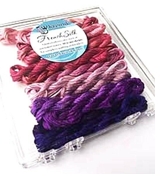 Kreinik French Silk Set for Needlecrafts ~ Berry 14 Skeins 2.5 m of each #4206