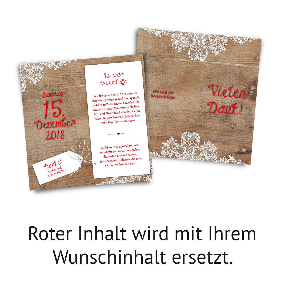 Hochzeit Hochzeit Hochzeit Dankeskarten Danksagungskarte DIN Lang Klappkarte Rustikal weiße Spitze  | Online einkaufen  | Niedriger Preis  ee6f48