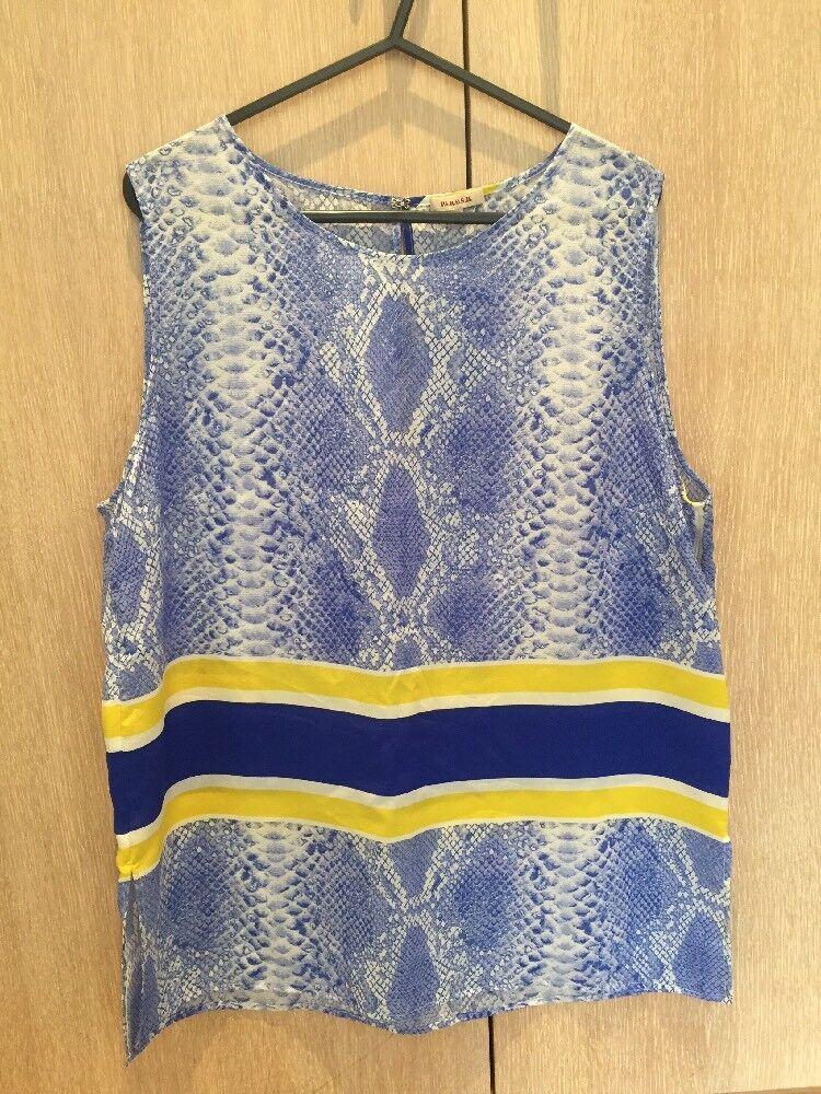 Parosh bluee And Yellow Snake Print Silk Short Size XL