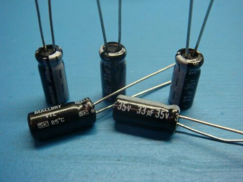 100 MALLORY SK330M035ST 35V 33uF 85°C RADIAL ALUMINUM ELECTROLYTIC CAPACITOR