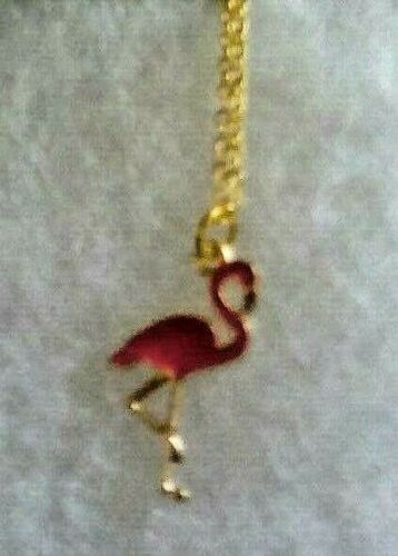 Salmon pink Flamingo  Pendant on a gold plate chain /'601/' !!!