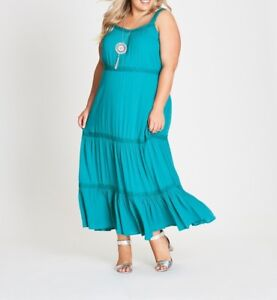 Plus-Size-Autograph-Teal-Green-Cheesecloth-Crochet-Maxi-Dress-Size-26-Free-Post