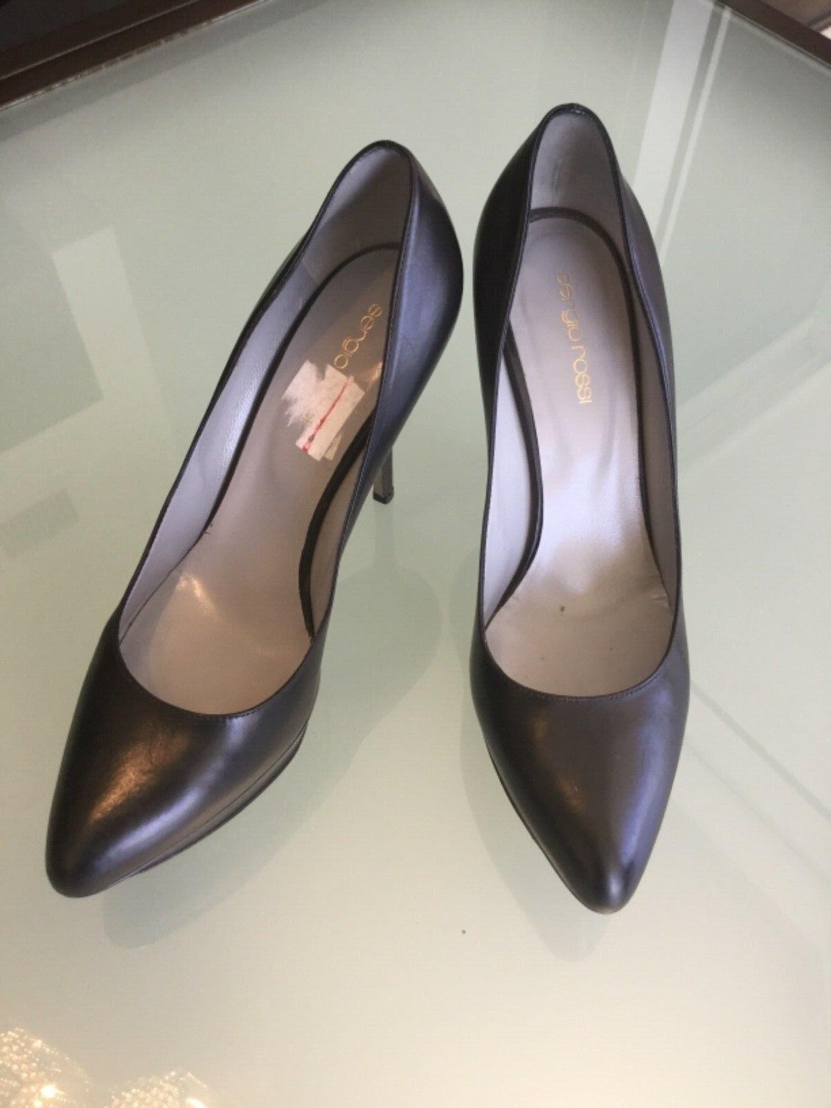 Woman's zapatos Sergio Rossi Bombas Tacones Negros De Cuero Cuero Cuero Negro 39.5 9.5  precios ultra bajos