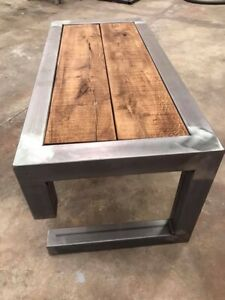 Details About Bespoke Coffee Table Oak Steel Rustic For Mustang Logo Style