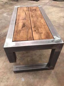 Rustic Metal Coffee Table.Details About Bespoke Coffee Table Oak Steel Rustic Industrial For Mustang Logo Style