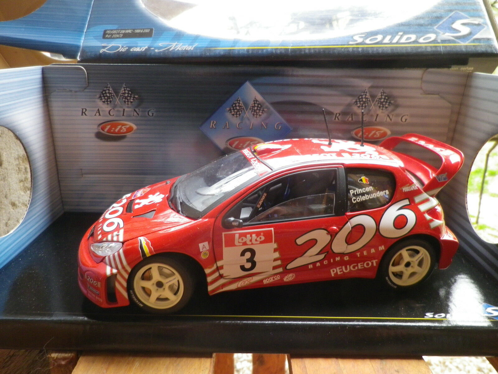 SOLIDO 1 18em  rare PEUGEOT 206 WRC SPA 2001 PRINCEN   COLEBUNDERS neuf en boite