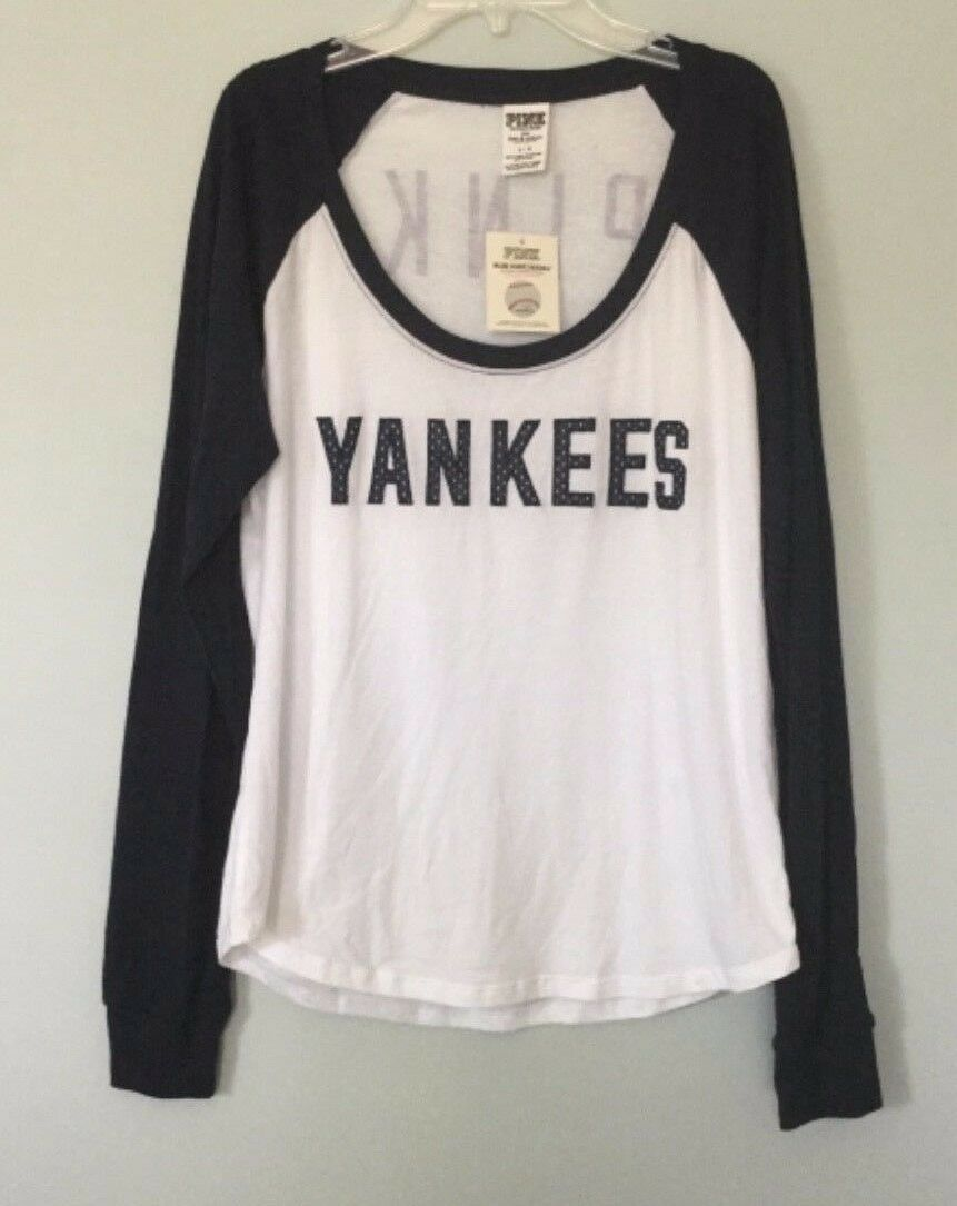 NWT Victoria's Secret Pink 5th & Ocean NY Yankees Large L Shirt Top Jersey NEW