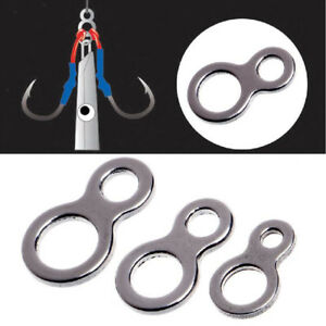 50Pcs-Double-Eyelet-Jigging-Fishing-Figure-8-Solid-Ring-Assist-Hooks-Tackle