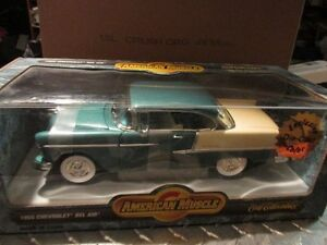 55 chevy belair GREEN AND CREAM COLOR  AMERICAN MUSCLE 1/18 ERTL ERROR