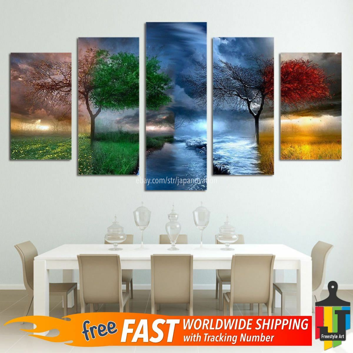 Home Decor Canvas Print Painting Wall Art Farbeful Season Weather Tree