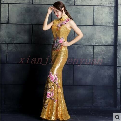 Sequins Womens Gown Embroidery Slim Fit Fishtail Qipao Long Evening Party Dress