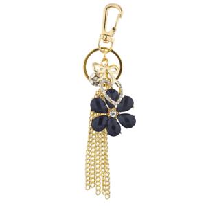 Lux Accessories Gold Tone Black Flower Chain Tassel Cluster Keychain Bag Charm