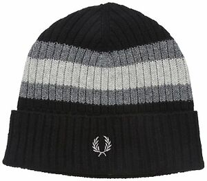 Fred Perry Mens Bomber Tipped Beanie, Black/Steel/Ash Grey, One Size