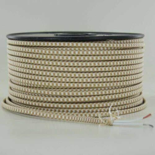 GOLD /& WHITE~ 2 WIRE Parallel ~ Antique Style Fabric Lamp Wire ~ Price Per Foot