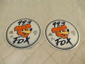 CFOX-99-3-Decals-Vancouver-Radio-Fox-Hunt-1989-Vtg-CD-Stickers-Lot-of-2