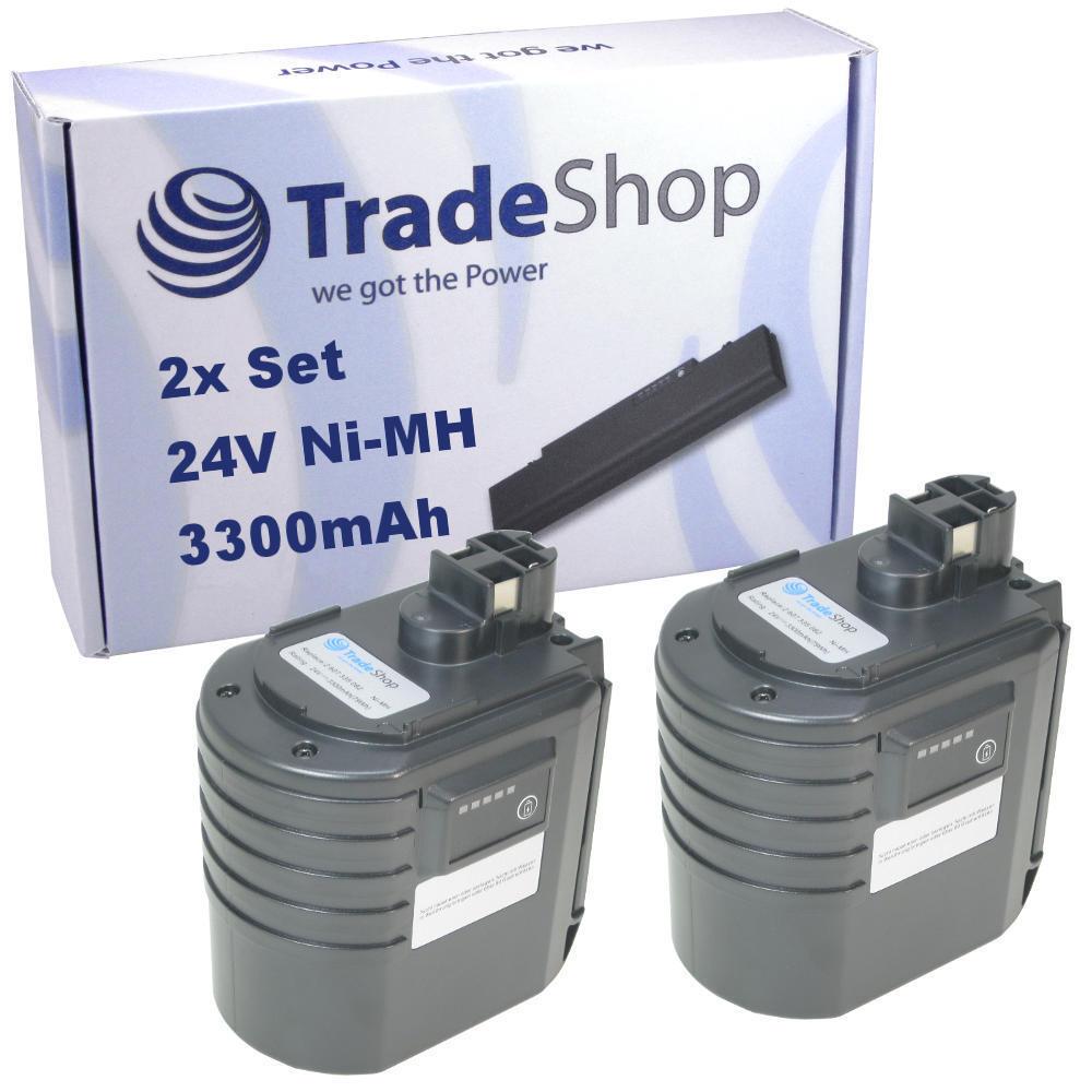 2x Trade-Shop Akku 24V 3300mAh Ni-MH ersetzt WÜRTH WA 24V 0702300924 APBO/SL 24V