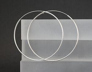 Creolen-Ohrringe-925-Sterling-Silber-Ohrschmuck-runde-grosse-Kreolen-30-60-75-mm