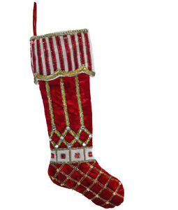 PEPPERMINT CUFF STOCKING Jewels BLING Katherine's Collection 14-614018 VELVET!